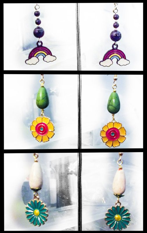 november earrings rainbow flower
